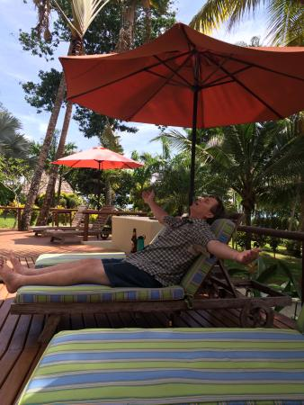 Bosque del Cabo Rainforest Lodge: Hubby living the good life at the pool