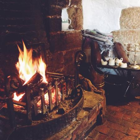 The cozy fire at The Old Vine.