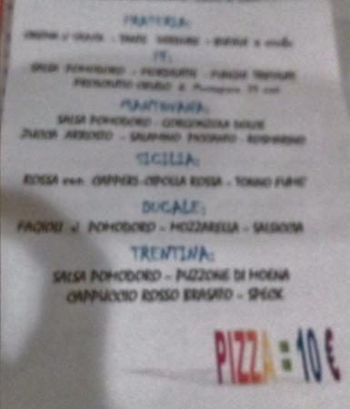 Castellucchio, Italia: Menu delle pizze