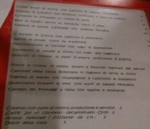 Castellucchio, Italia: Menu