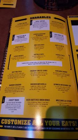 Menu of the shareable food picture of buffalo wild wings grill addison tripadvisor - Menu buffalo grill tarif ...