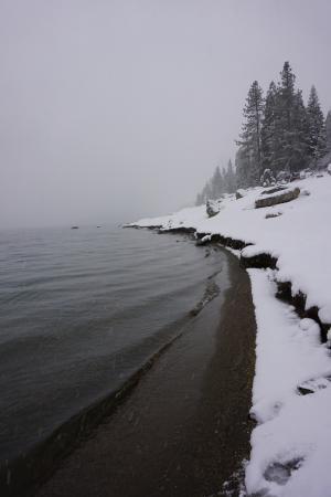 Snowy Shaver Lake Morning