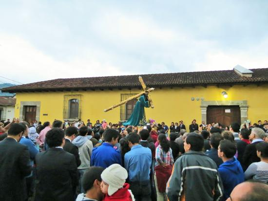 Posada Don Diego: A procession at La Merced, across the street.  Don Diego is the white building in the left of th