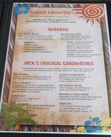 Jacks Barcelona Drive In: Menu