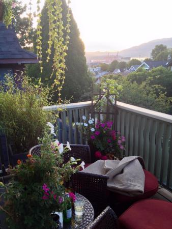 Bee & Thistle Guest House: Wine and sunset on the balcony
