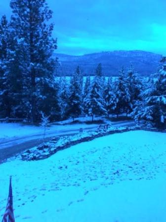 Marion, MT: Early morning shot from our room - we had one day of snow during our stay.