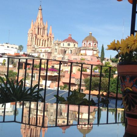 Casa Maricela: view from rooftop lounging area, with reflection in glass table