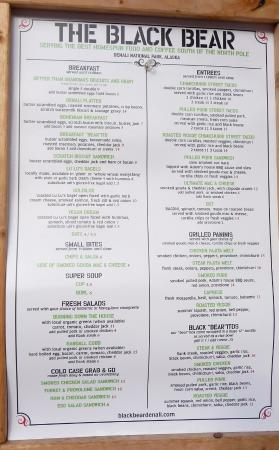 Black Bear Coffee House : Menu