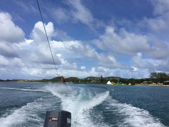 Saluna Excursions & Watersports : Wakeboarding Behind the Mastercraft at Reduit