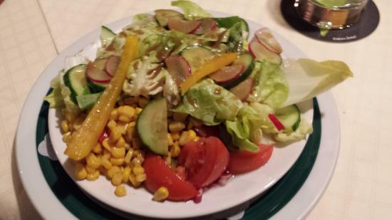 Ebenau, Austria: Salad with corn peppers etc