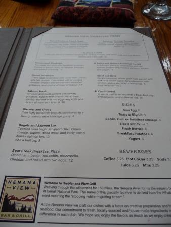 Nenana View Bar & Grille: Breakfast menu