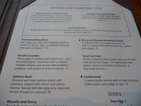 Nenana View Bar & Grille: Breakfast menu