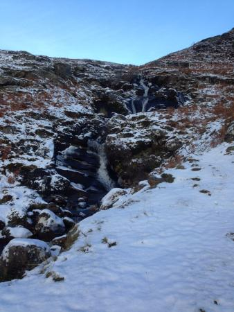 Newtonmore, UK: Waterfall up the hill on property