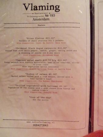 Eetcafe Vlaming: Menu