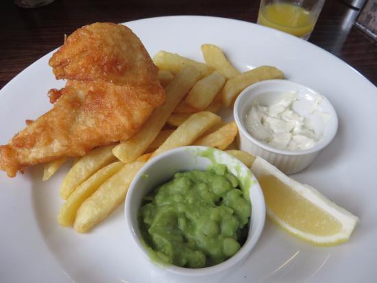 "The Royal: ""Lighter bite"" cod, chips, mushy peas"