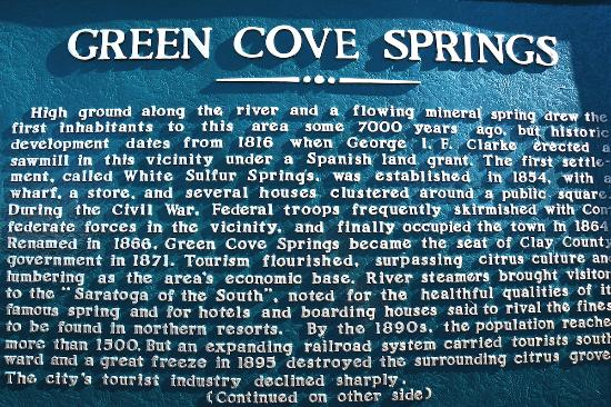 History Marker for Green Cove Springs.