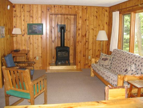 Two Inlets Resort: Gas fireplace creates cabin cozy feel.