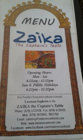 ZAIKA The Captains Table Picture Of ZAIKA The Captains Table - Captains table menu