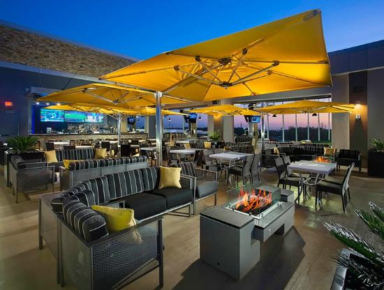 Topgolf Webster rooftop terrace bar