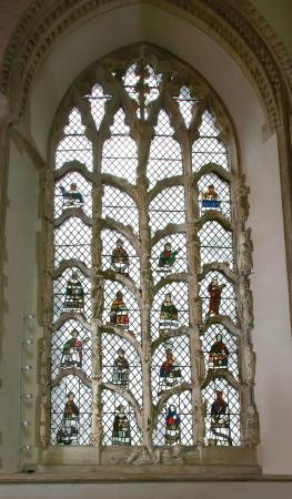 Dorchester Abbey: The Jesse window - C14 sculpture, tracery and stained glass