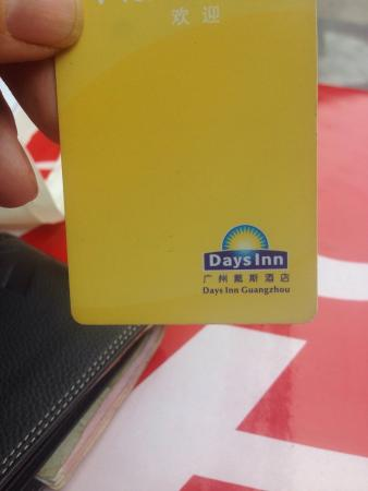 Days Inn Guangzhou: Hotel key card, show to taxi driver for reference