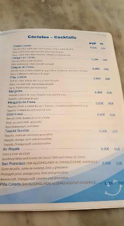 HOVIMA Costa Adeje: Cocktail list