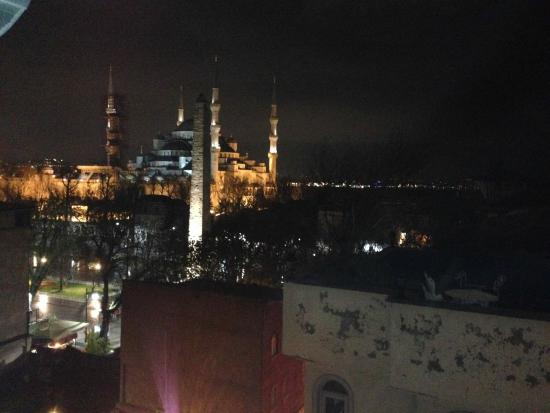 Hotel Sultan House: View from my detached apartment room. The Blue Mosque.
