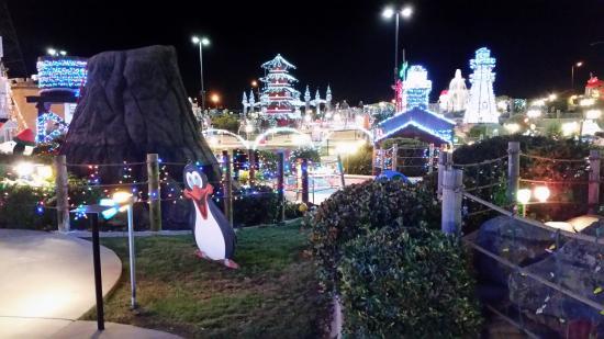 Christmas lights around pagoda. - Picture of Golfland Sunsplash ...