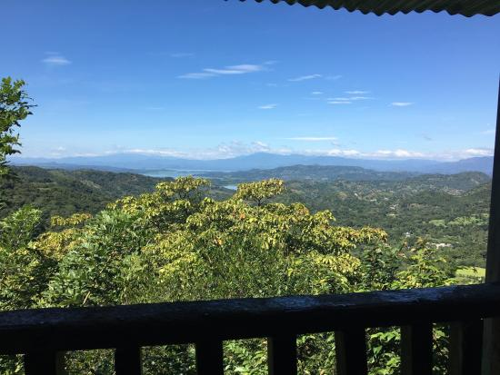Cinquera Rain Forest Park: View from the mirador, look out tower on the top of the hill.