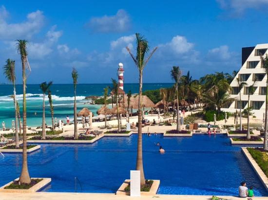 Hyatt Ziva Cancun Main Pool View From Lobby
