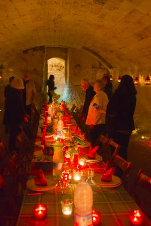 The Awaiting Table Cookery School in Lecce, Italy: Dinner in the Castle's old olive pressing room underground