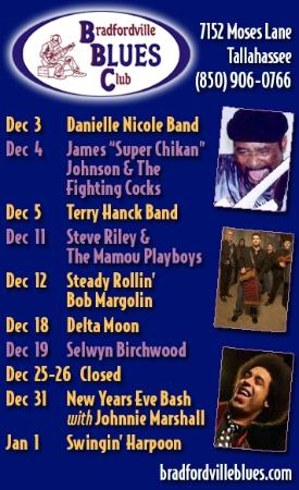 Bradfordville Blues Club: December's Calender Of Events