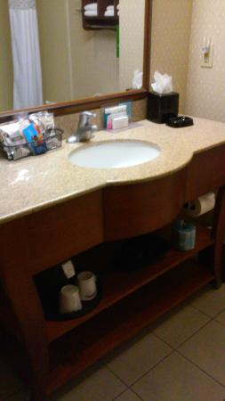 Hampton Inn and Suites - Dallas Allen: Clean bathroom with great vanity items (Neutrogena products)