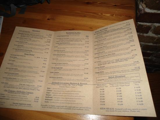Eichardt's Pub : THE MENU AT EICHADT'S