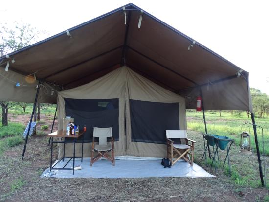 Front of tent with sitting area