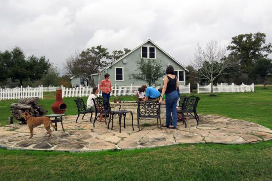 Bootstrap at Round Top: A nice big firepit is located in the backyard, which also has a large pond. Bring or buy firewoo