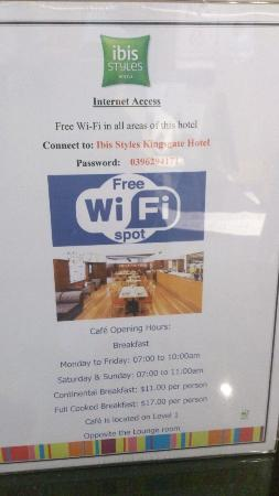 ibis Styles Kingsgate Hotel: 無料WIFIあります。