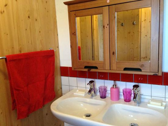 Bathroom with 2 shower cabinets, toilet & double wash basin ...
