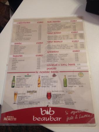 Beaubar: menù