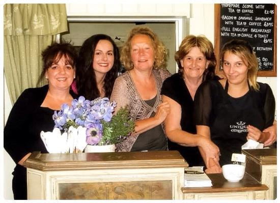 Unique Tea Room Gardens: Sally, Debs & Emily with staff from Castle Raising