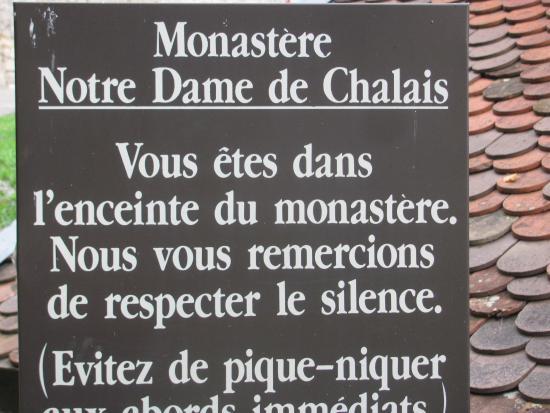 Monastere de Chalais : Indications à l'entrée