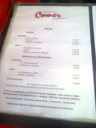 Quilmes, Argentina: Nuevos precios en el menú