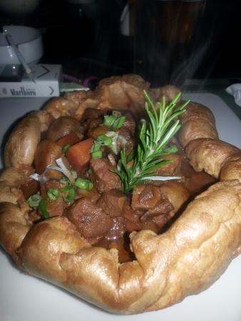 Irish stew on Yorkshire pudding - the ultimate!