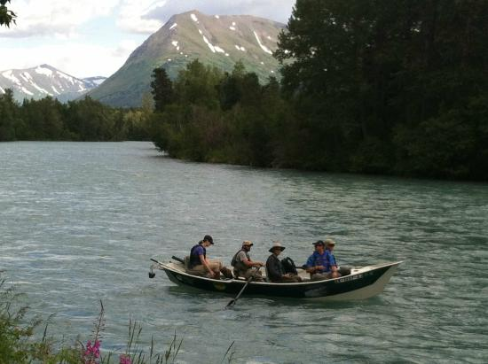 Alaska Kenai Fishing for Fun: Floating into the Sportsman's landing on the Upper Kenai.