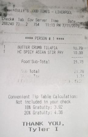 Tully's Good Times: $23.52 Tyler I