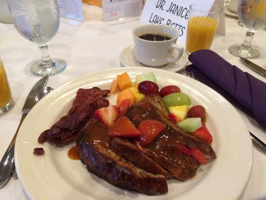 Swainton, NJ: French toast with apple coating, fruit and bacon.