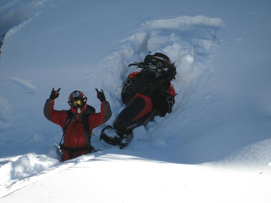 Snowmobile Adventures: Dont get stuck!  We have some deep snow!