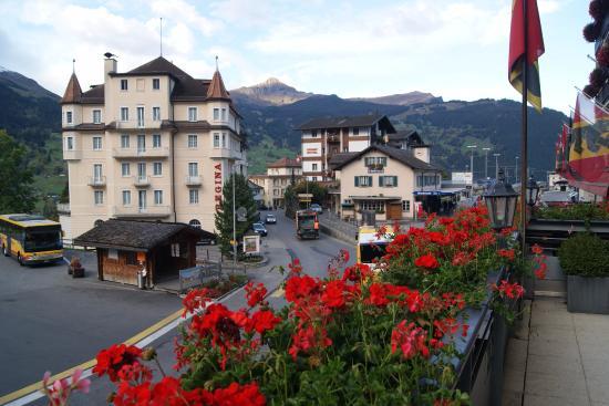 Hotel Bernerhof: View from restaurant balcony - grindelward train station