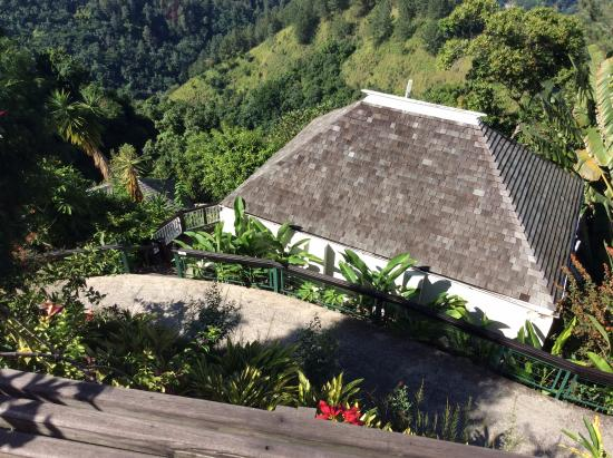 Strawberry Hill: Tree Cottage looking down from pool area