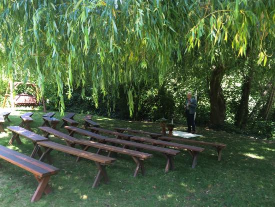 Monte Rio, CA: Wedding event setup under the willow